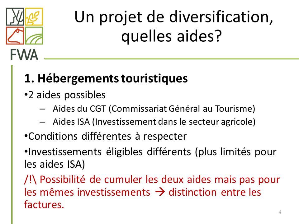 1. Hébergements touristiques 2 aides possibles – Aides du CGT (Commissariat Général au Tourisme) – Aides ISA (Investissement dans le secteur agricole)