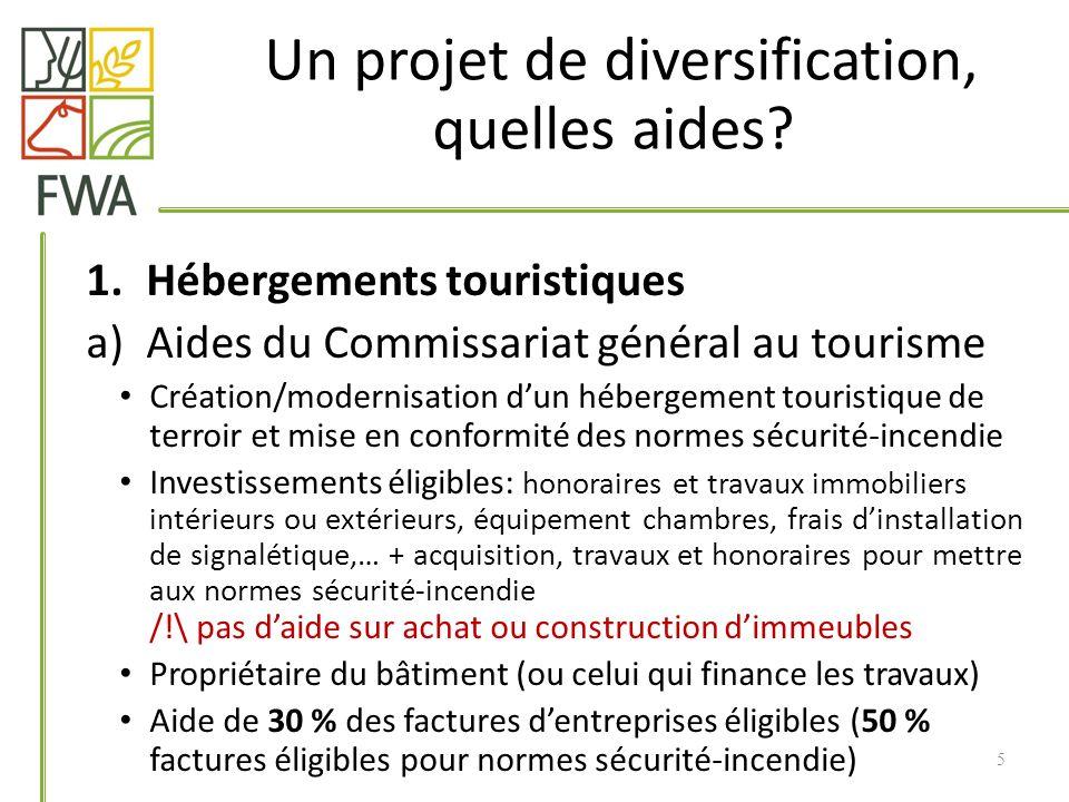 1.Hébergements touristiques a)Aides du Commissariat général au tourisme Création/modernisation dun hébergement touristique de terroir et mise en confo