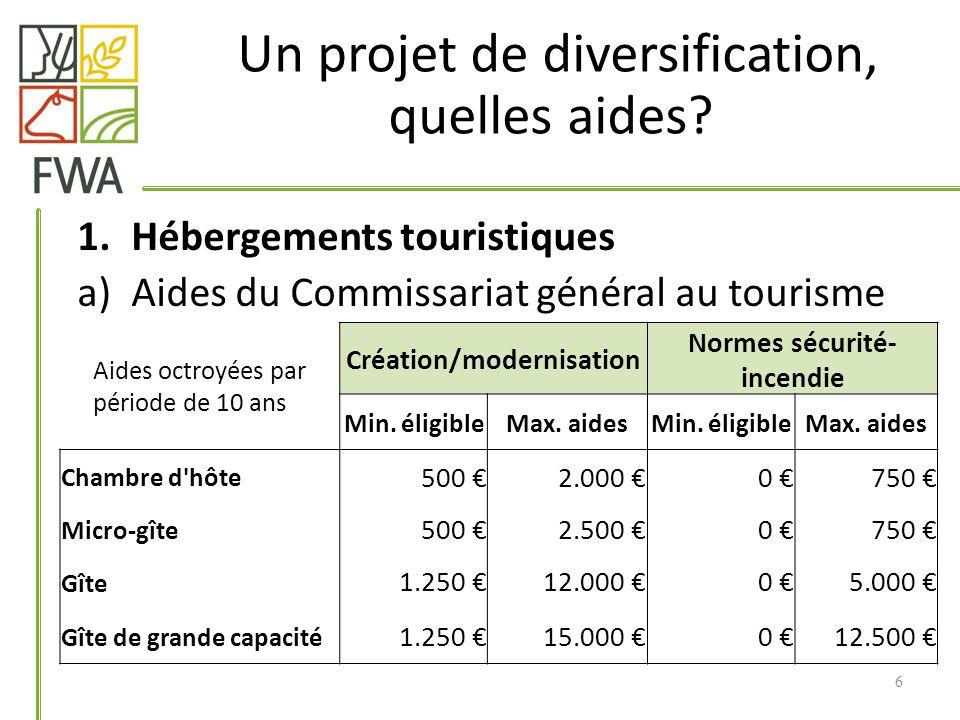 1.Hébergements touristiques a)Aides du Commissariat général au tourisme 6 Un projet de diversification, quelles aides.