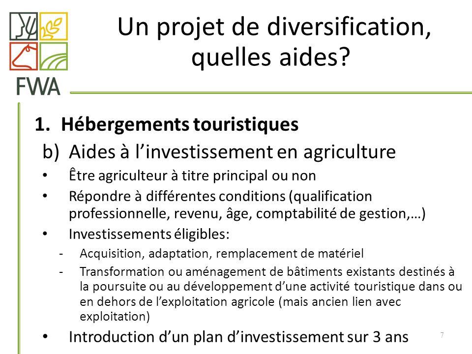 1.Hébergements touristiques b)Aides à linvestissement en agriculture Être agriculteur à titre principal ou non Répondre à différentes conditions (qual