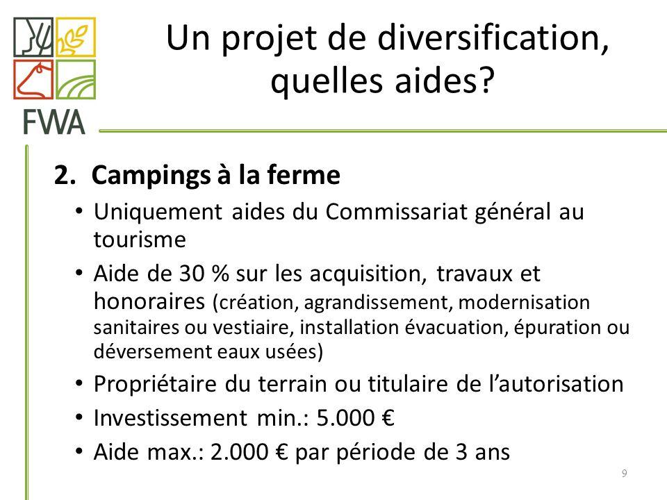 2.Campings à la ferme Uniquement aides du Commissariat général au tourisme Aide de 30 % sur les acquisition, travaux et honoraires (création, agrandis