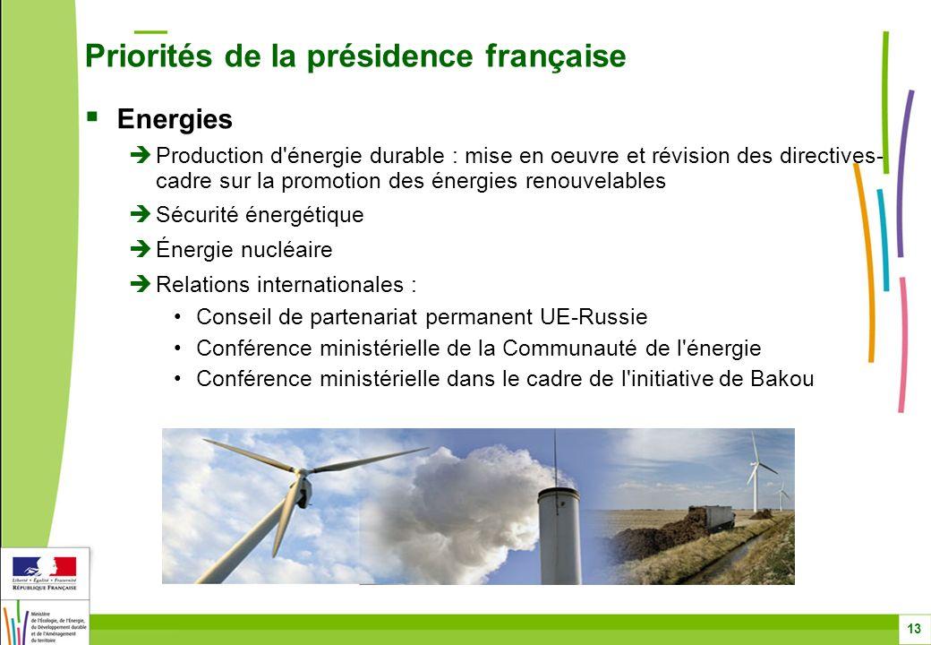 Energies Production d'énergie durable : mise en oeuvre et révision des directives- cadre sur la promotion des énergies renouvelables Sécurité énergéti