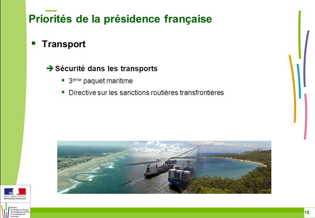 Transport Sécurité dans les transports 3 ème paquet maritime Directive sur les sanctions routières transfrontières Priorités de la présidence français