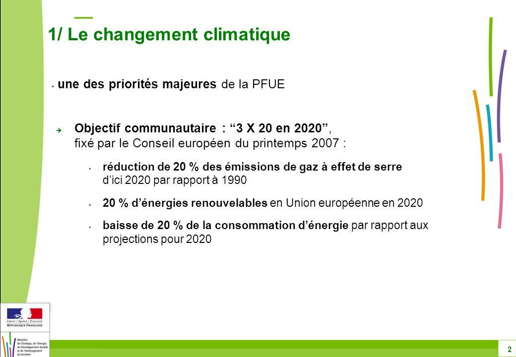 Objectif communautaire : 3 X 20 en 2020, fixé par le Conseil européen du printemps 2007 : réduction de 20 % des émissions de gaz à effet de serre dici