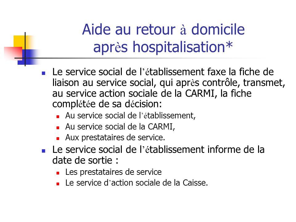 Aide au retour à domicile apr è s hospitalisation* Le service social de l é tablissement faxe la fiche de liaison au service social, qui apr è s contr