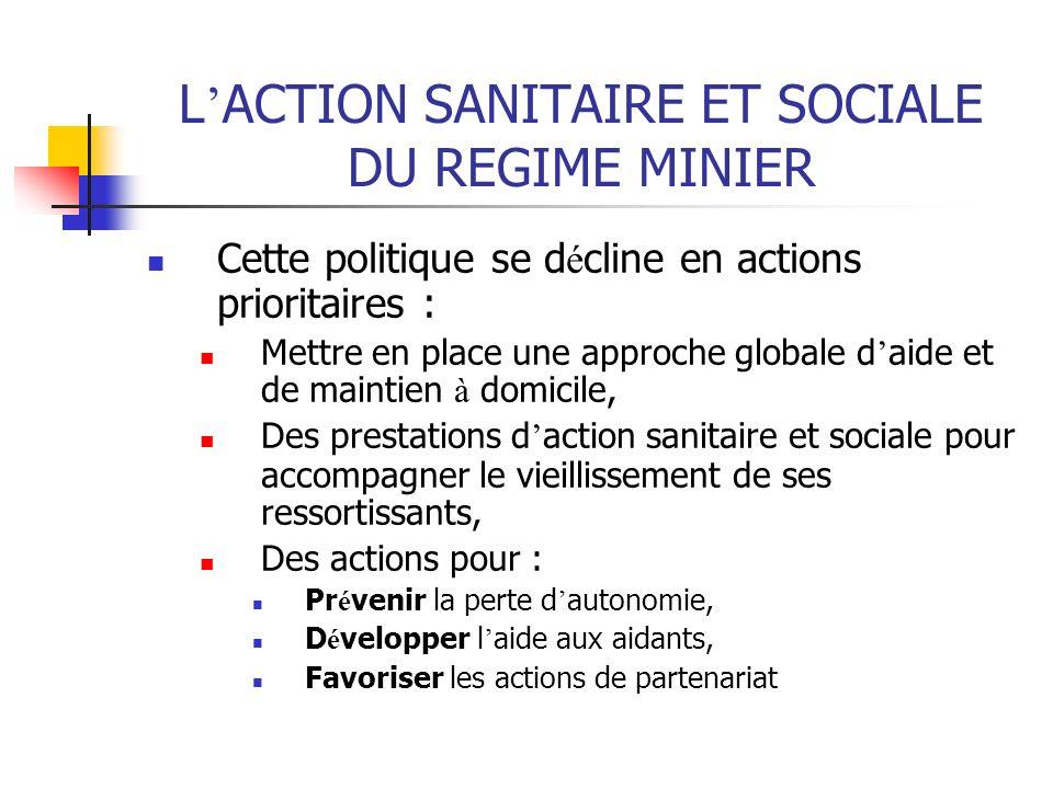 L ACTION SANITAIRE ET SOCIALE DU REGIME MINIER Cette politique se d é cline en actions prioritaires : Mettre en place une approche globale d aide et d