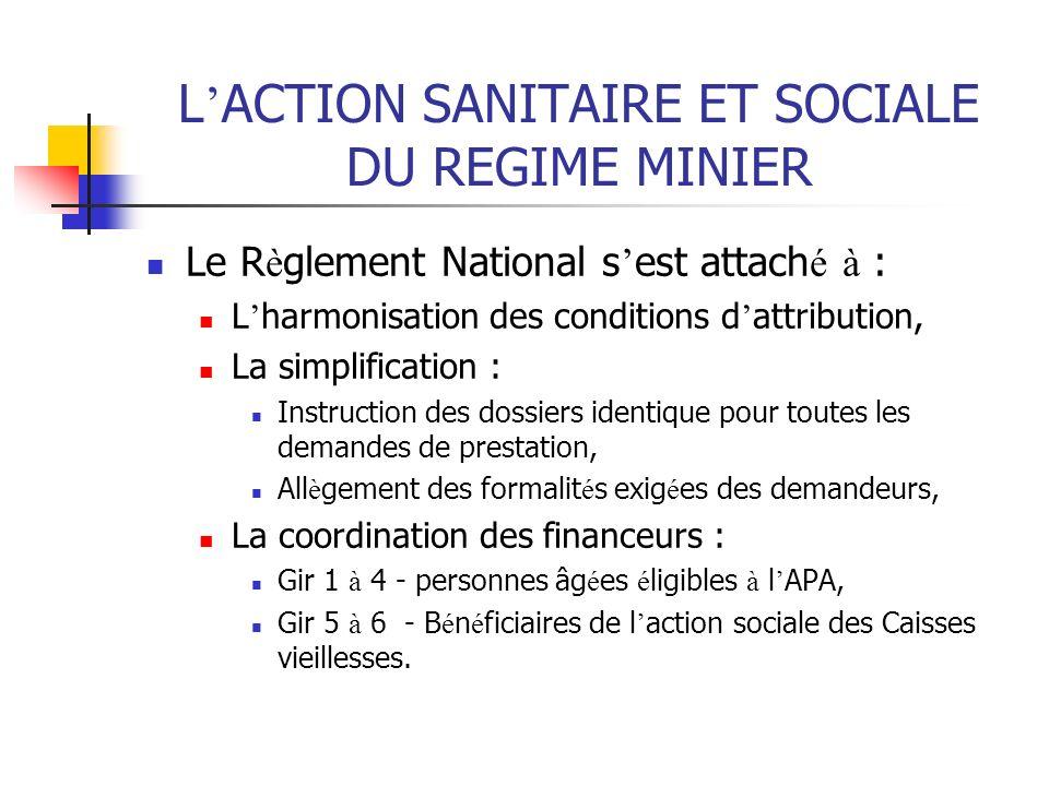 L ACTION SANITAIRE ET SOCIALE DU REGIME MINIER Le R è glement National s est attach é à : L harmonisation des conditions d attribution, La simplificat