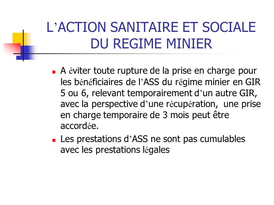 L ACTION SANITAIRE ET SOCIALE DU REGIME MINIER A é viter toute rupture de la prise en charge pour les b é n é ficiaires de l ASS du r é gime minier en