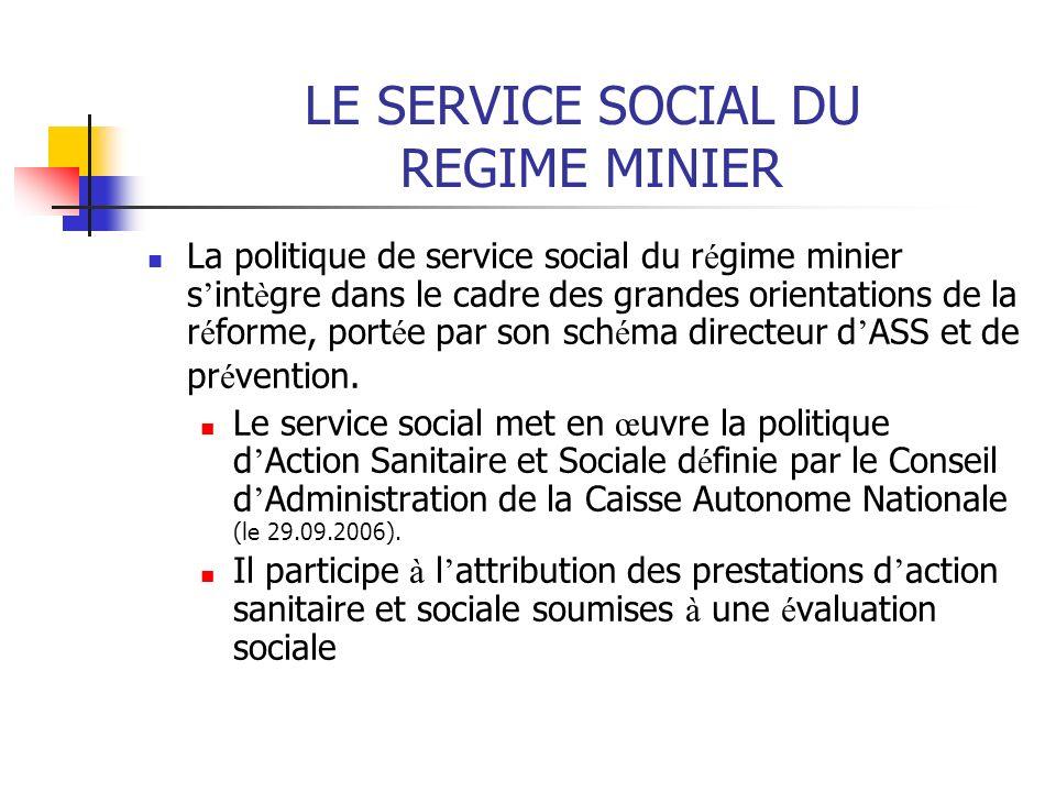 LE SERVICE SOCIAL DU REGIME MINIER La politique de service social du r é gime minier s int è gre dans le cadre des grandes orientations de la r é form