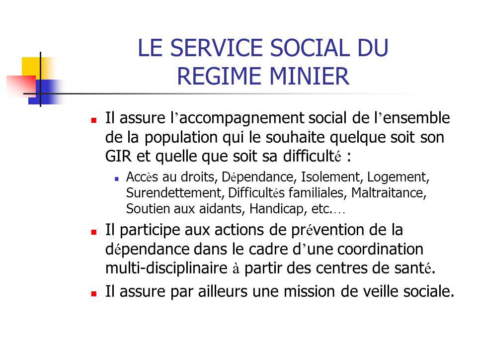 LE SERVICE SOCIAL DU REGIME MINIER Il assure l accompagnement social de l ensemble de la population qui le souhaite quelque soit son GIR et quelle que