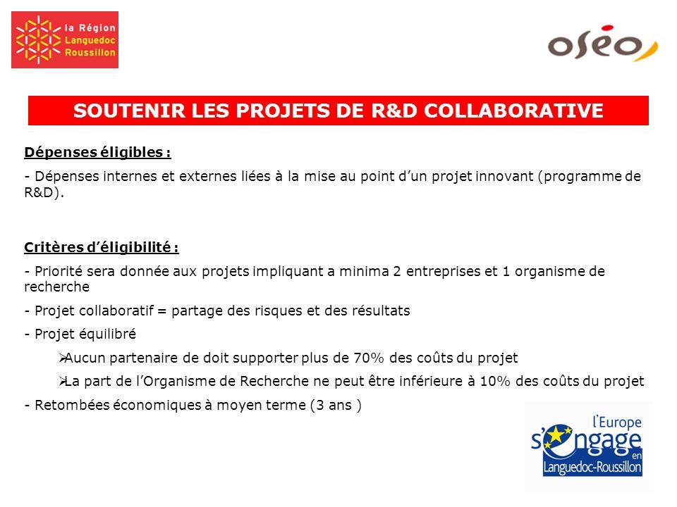Dépenses éligibles : - Dépenses internes et externes liées à la mise au point dun projet innovant (programme de R&D). Critères déligibilité : - Priori