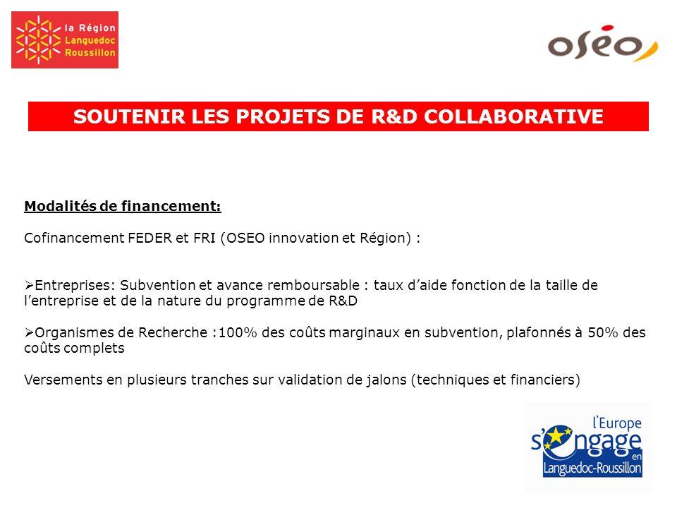 Modalités de financement: Cofinancement FEDER et FRI (OSEO innovation et Région) : Entreprises: Subvention et avance remboursable : taux daide fonctio