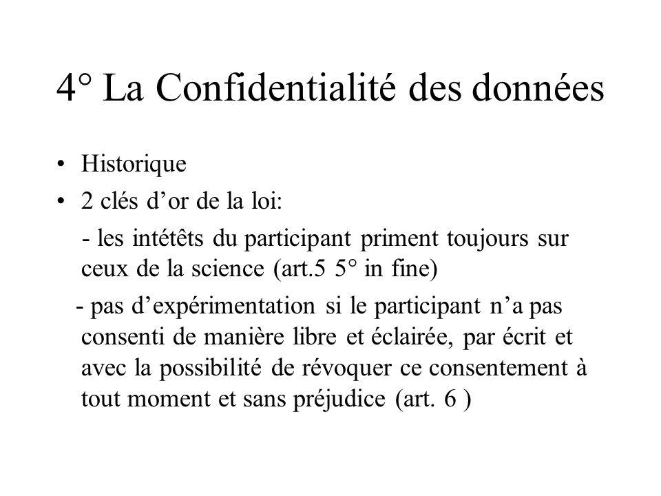 4° La Confidentialité des données Historique 2 clés dor de la loi: - les intétêts du participant priment toujours sur ceux de la science (art.5 5° in
