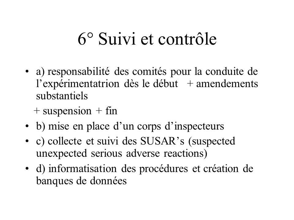 6° Suivi et contrôle a) responsabilité des comités pour la conduite de lexpérimentatrion dès le début + amendements substantiels + suspension + fin b)