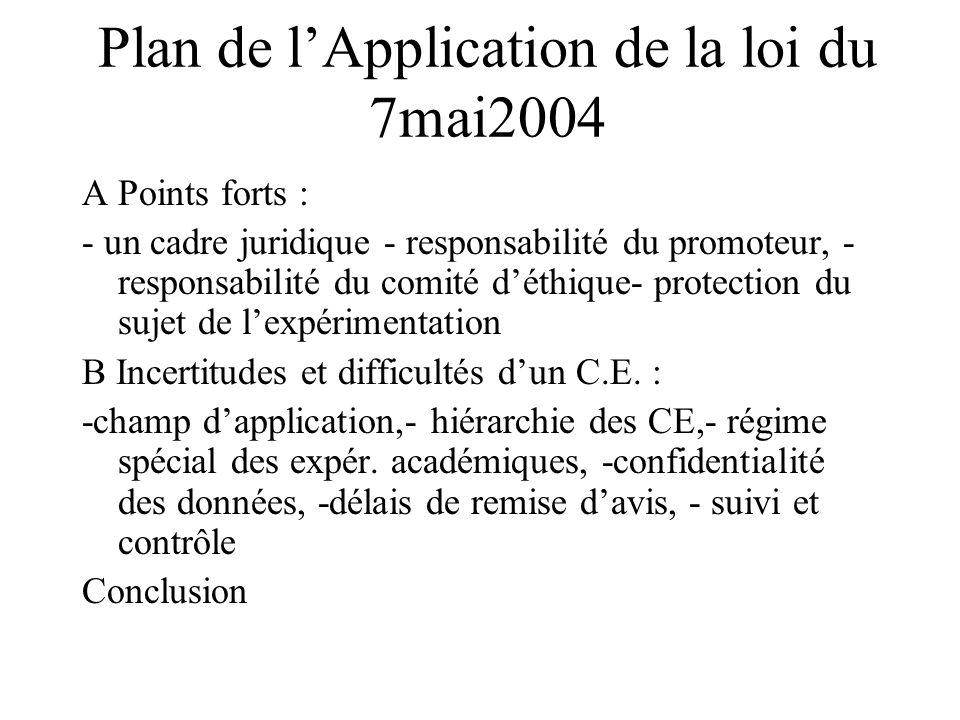 Plan de lApplication de la loi du 7mai2004 A Points forts : - un cadre juridique - responsabilité du promoteur, - responsabilité du comité déthique- protection du sujet de lexpérimentation B Incertitudes et difficultés dun C.E.