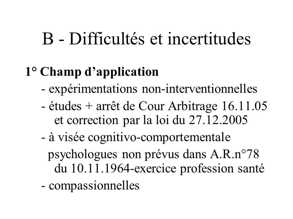 B - Difficultés et incertitudes 1° Champ dapplication - expérimentations non-interventionnelles - études + arrêt de Cour Arbitrage 16.11.05 et correction par la loi du 27.12.2005 - à visée cognitivo-comportementale psychologues non prévus dans A.R.n°78 du 10.11.1964-exercice profession santé - compassionnelles