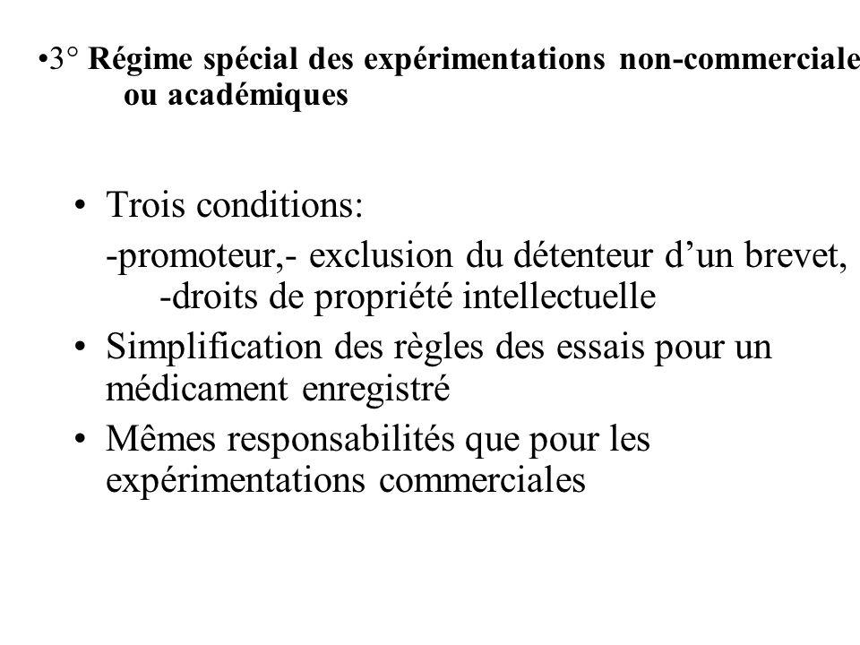 Trois conditions: -promoteur,- exclusion du détenteur dun brevet, -droits de propriété intellectuelle Simplification des règles des essais pour un médicament enregistré Mêmes responsabilités que pour les expérimentations commerciales 3° Régime spécial des expérimentations non-commerciales ou académiques