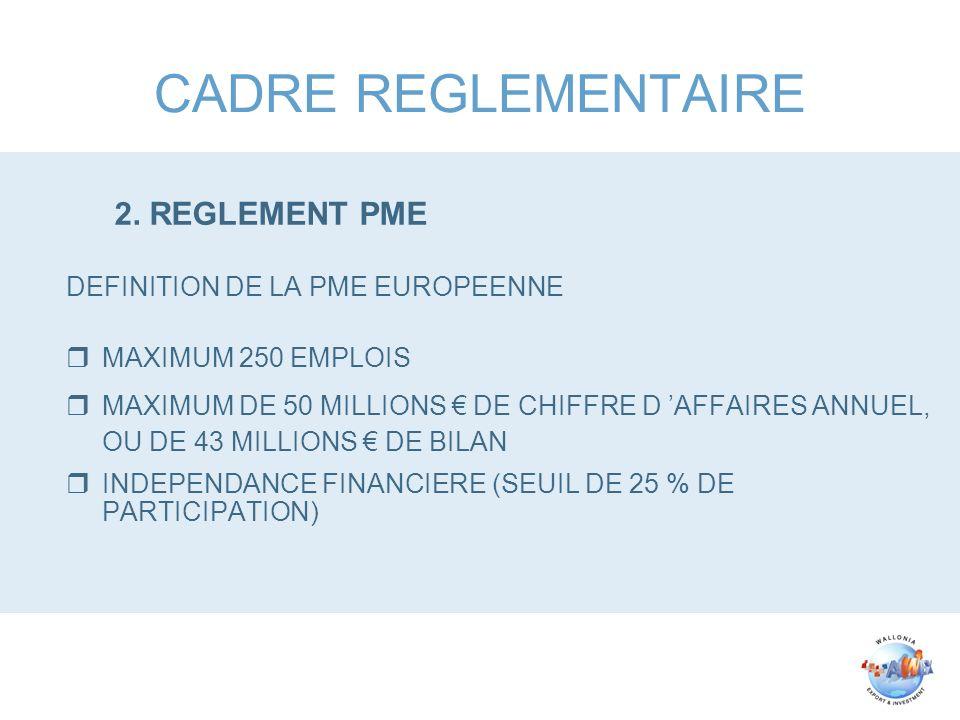 CADRE REGLEMENTAIRE 2. REGLEMENT PME DEFINITION DE LA PME EUROPEENNE rMAXIMUM 250 EMPLOIS rMAXIMUM DE 50 MILLIONS DE CHIFFRE D AFFAIRES ANNUEL, OU DE
