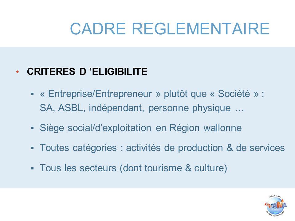 CADRE REGLEMENTAIRE CRITERES D ELIGIBILITE « Entreprise/Entrepreneur » plutôt que « Société » : SA, ASBL, indépendant, personne physique … Siège socia