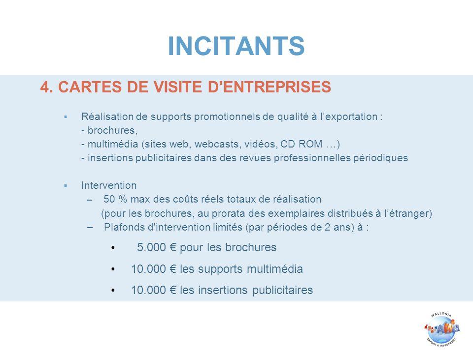 INCITANTS 4.CARTES DE VISITE D'ENTREPRISES Réalisation de supports promotionnels de qualité à lexportation : - brochures, - multimédia (sites web, web