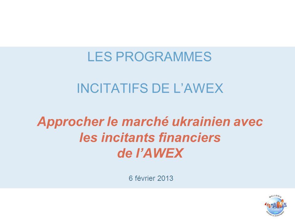 LES PROGRAMMES INCITATIFS DE LAWEX Approcher le marché ukrainien avec les incitants financiers de lAWEX 6 février 2013