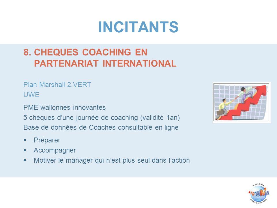 INCITANTS 8.CHEQUES COACHING EN PARTENARIAT INTERNATIONAL Plan Marshall 2.VERT UWE PME wallonnes innovantes 5 chèques dune journée de coaching (validi