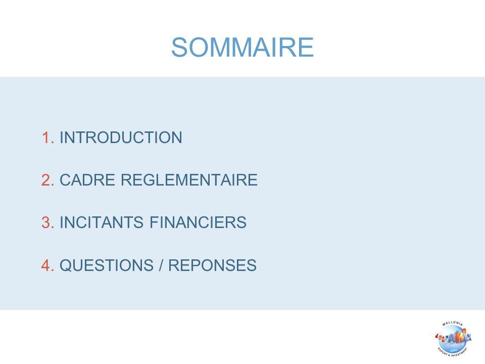 SOMMAIRE 1.INTRODUCTION 2.CADRE REGLEMENTAIRE 3.INCITANTS FINANCIERS 4.QUESTIONS / REPONSES