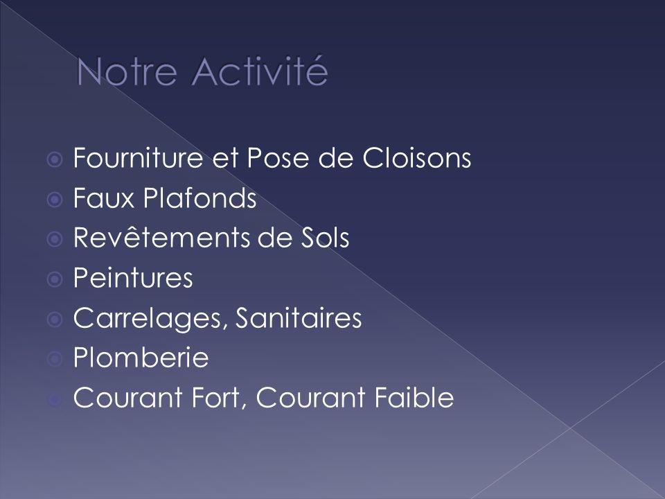 Fourniture et Pose de Cloisons Faux Plafonds Revêtements de Sols Peintures Carrelages, Sanitaires Plomberie Courant Fort, Courant Faible