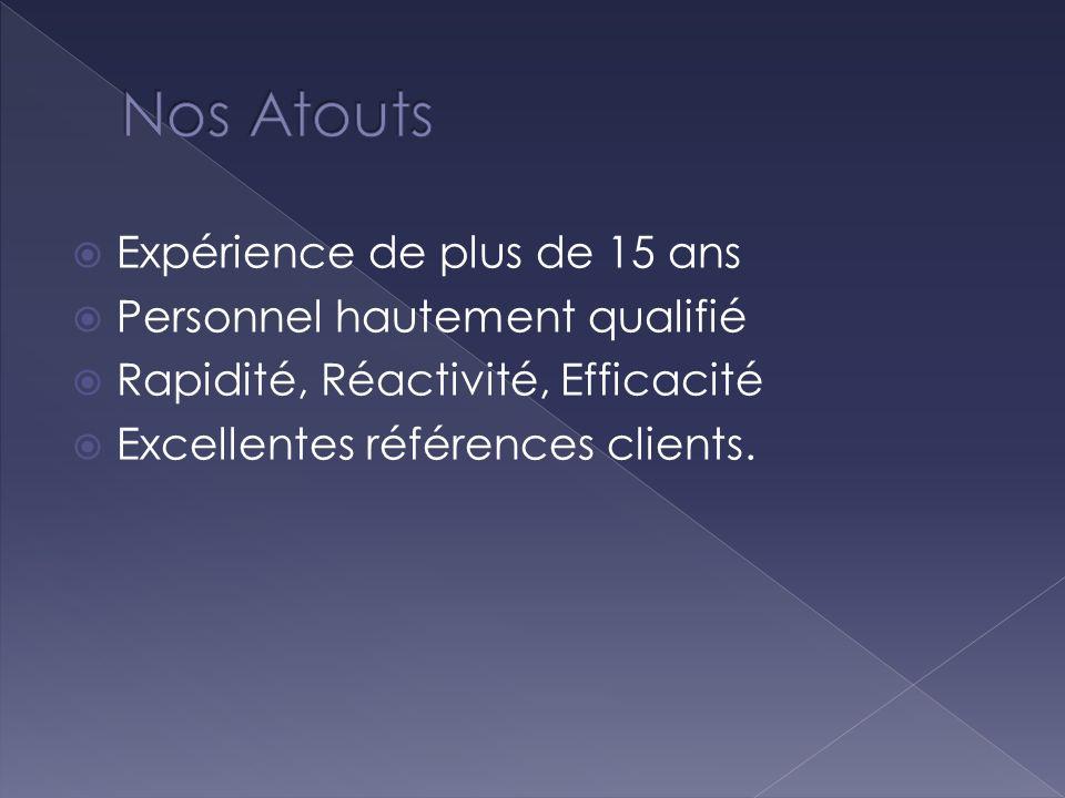 Expérience de plus de 15 ans Personnel hautement qualifié Rapidité, Réactivité, Efficacité Excellentes références clients.