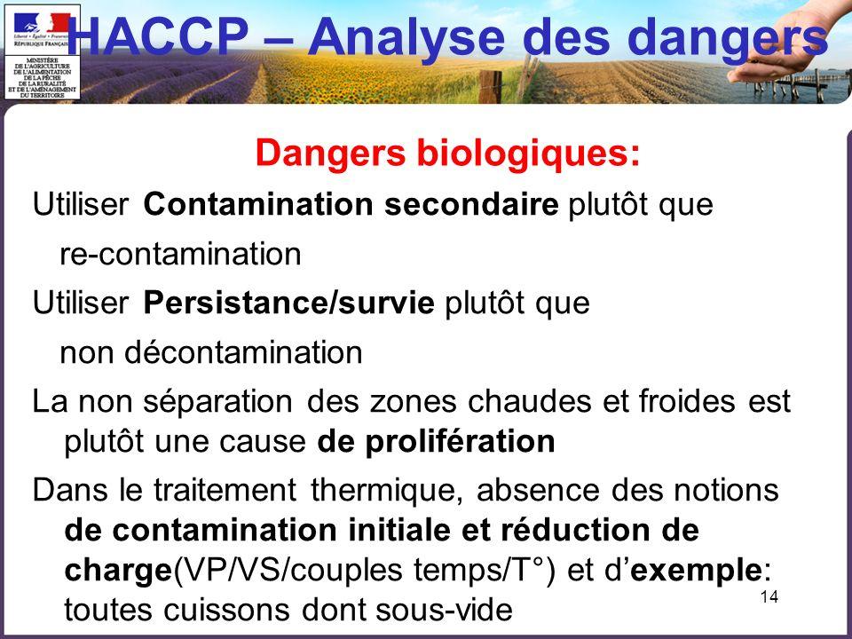14 HACCP – Analyse des dangers Dangers biologiques: Utiliser Contamination secondaire plutôt que re-contamination Utiliser Persistance/survie plutôt q