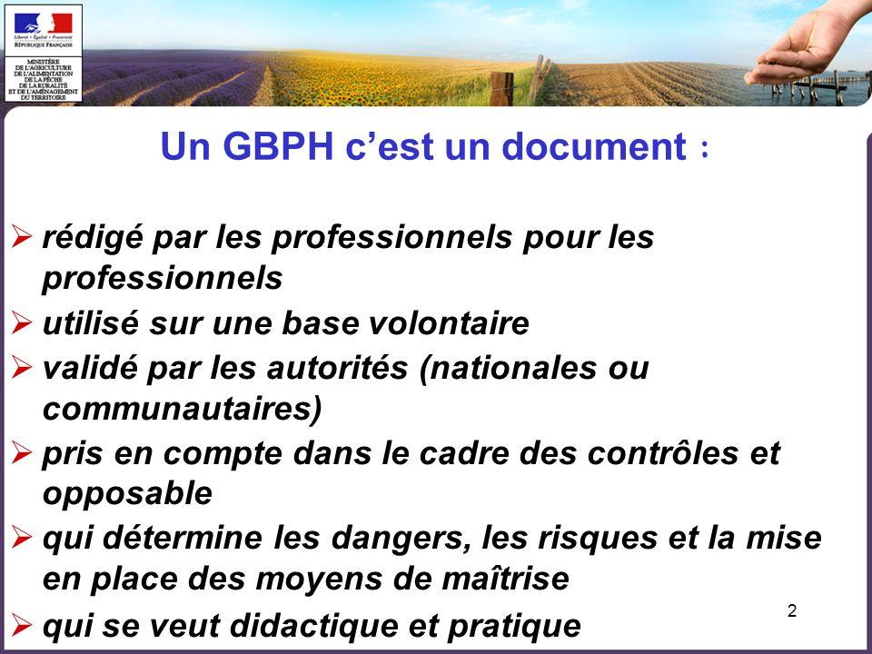 2 Un GBPH cest un document : rédigé par les professionnels pour les professionnels utilisé sur une base volontaire validé par les autorités (nationale