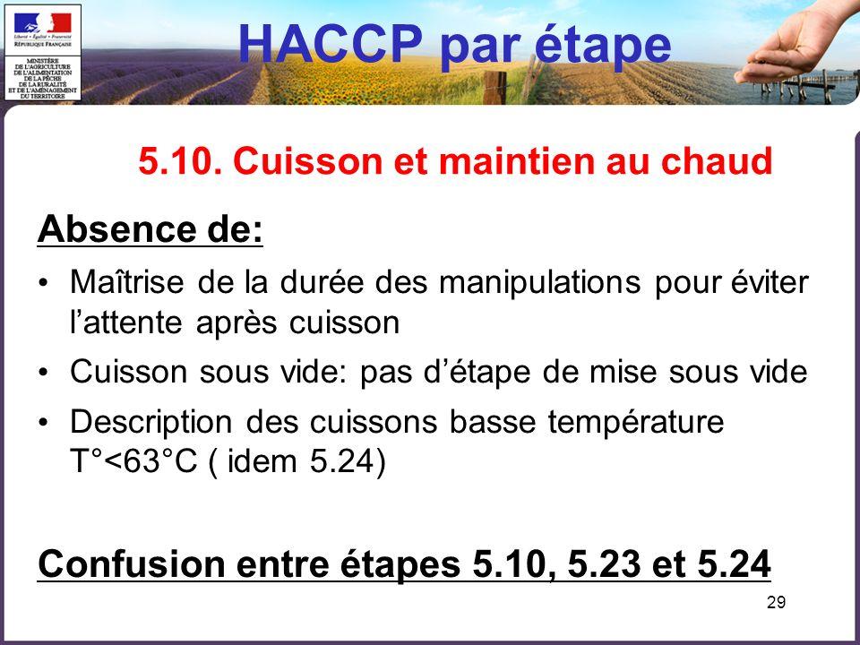 29 HACCP par étape 5.10. Cuisson et maintien au chaud Absence de: Maîtrise de la durée des manipulations pour éviter lattente après cuisson Cuisson so