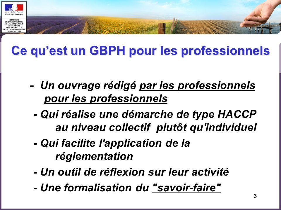 3 - Un ouvrage rédigé par les professionnels pour les professionnels - Qui réalise une démarche de type HACCP au niveau collectif plutôt qu individuel - Qui facilite l application de la réglementation - Un outil de réflexion sur leur activité - Une formalisation du savoir-faire Ce quest un GBPH pour les professionnels
