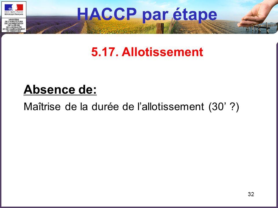 32 HACCP par étape 5.17. Allotissement Absence de: Maîtrise de la durée de lallotissement (30 ?)