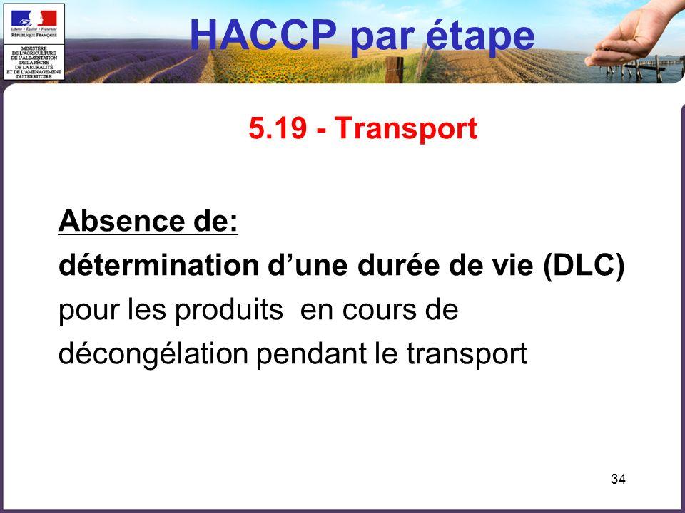 34 HACCP par étape 5.19 - Transport Absence de: détermination dune durée de vie (DLC) pour les produits en cours de décongélation pendant le transport