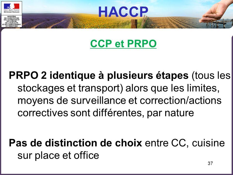 37 HACCP CCP et PRPO PRPO 2 identique à plusieurs étapes (tous les stockages et transport) alors que les limites, moyens de surveillance et correction/actions correctives sont différentes, par nature Pas de distinction de choix entre CC, cuisine sur place et office
