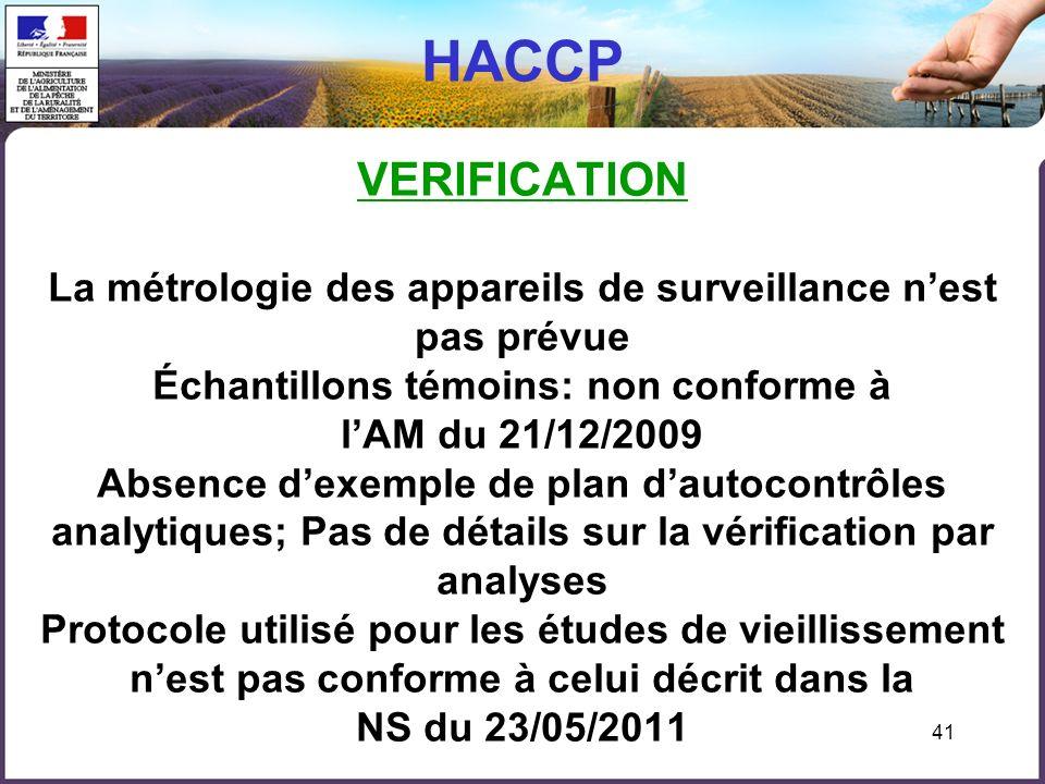 41 HACCP VERIFICATION La métrologie des appareils de surveillance nest pas prévue Échantillons témoins: non conforme à lAM du 21/12/2009 Absence dexem