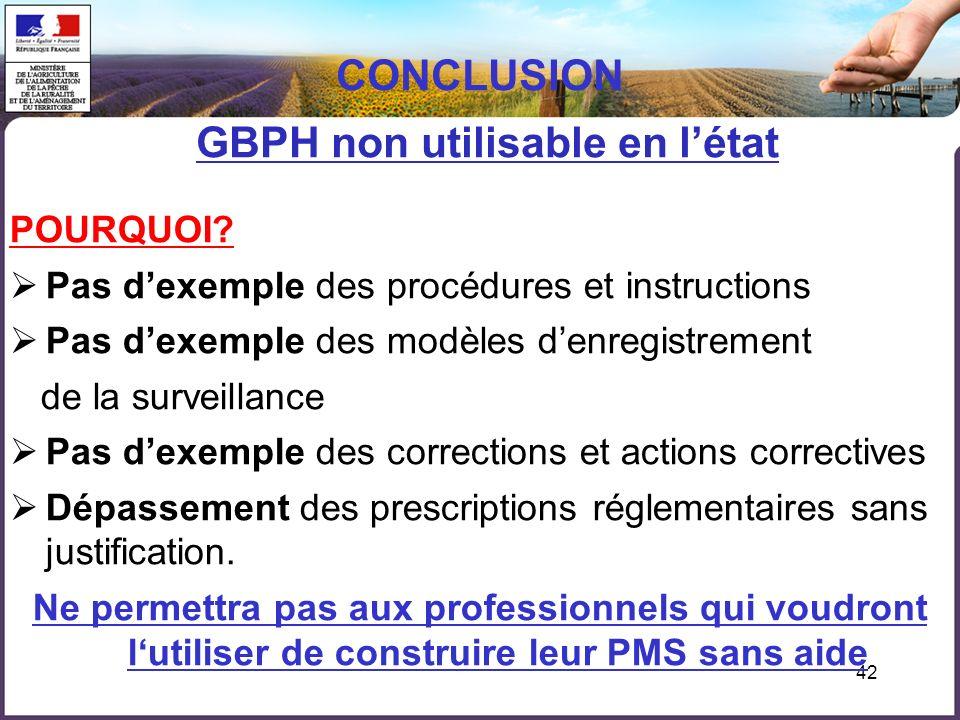 42 CONCLUSION GBPH non utilisable en létat POURQUOI? Pas dexemple des procédures et instructions Pas dexemple des modèles denregistrement de la survei