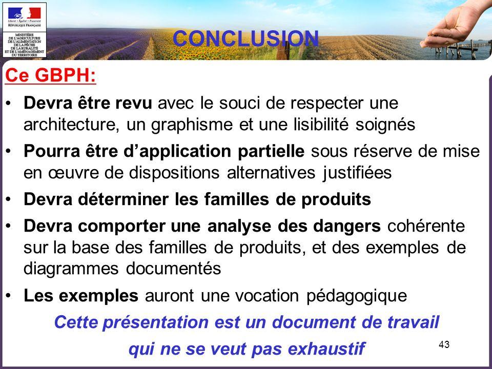 43 CONCLUSION Ce GBPH: Devra être revu avec le souci de respecter une architecture, un graphisme et une lisibilité soignés Pourra être dapplication pa