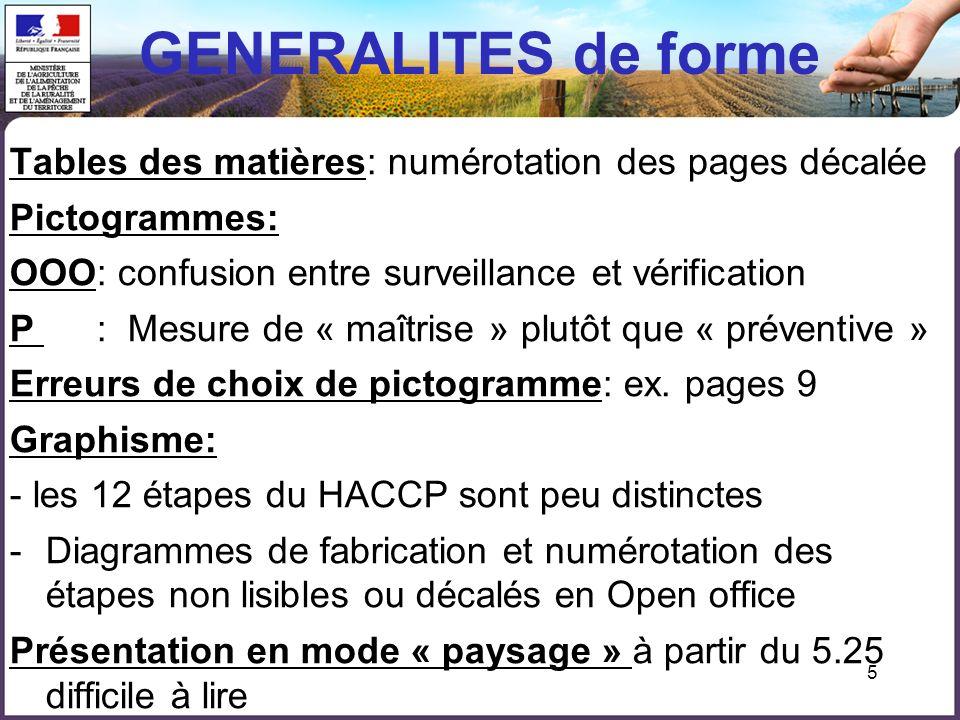 5 GENERALITES de forme Tables des matières: numérotation des pages décalée Pictogrammes: OOO: confusion entre surveillance et vérification P : Mesure