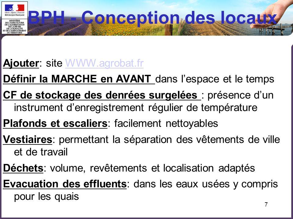 7 BPH - Conception des locaux Ajouter: site WWW.agrobat.frWWW.agrobat.fr Définir la MARCHE en AVANT dans lespace et le temps CF de stockage des denrée