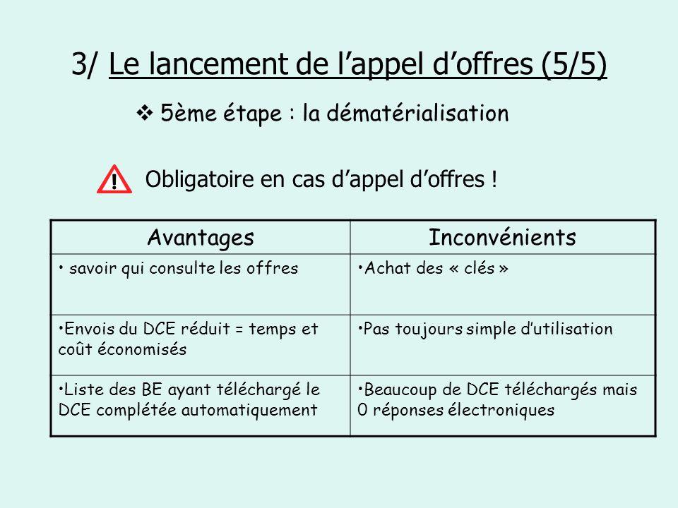 3/ Le lancement de lappel doffres (5/5) 5ème étape : la dématérialisation Obligatoire en cas dappel doffres ! AvantagesInconvénients savoir qui consul