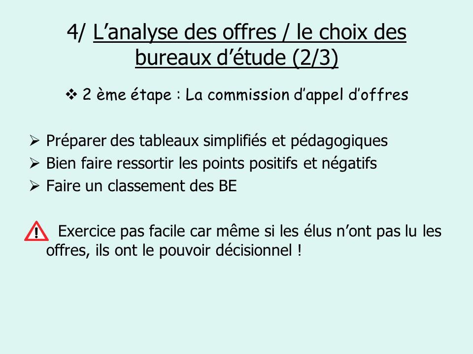 4/ Lanalyse des offres / le choix des bureaux détude (2/3) 2 ème étape : La commission dappel doffres Préparer des tableaux simplifiés et pédagogiques