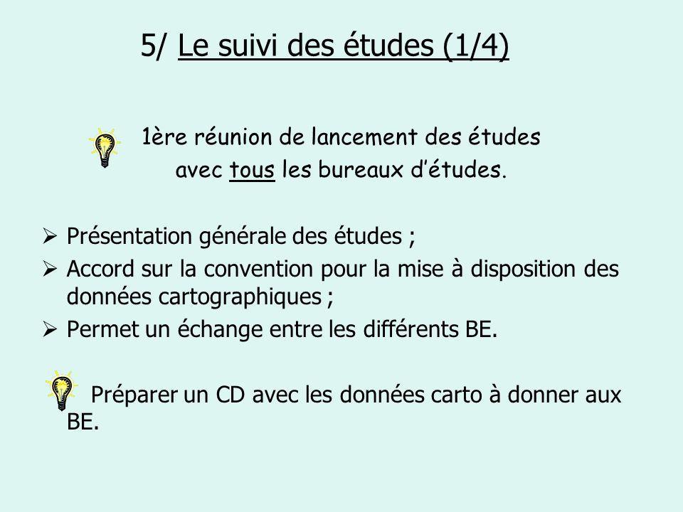 5/ Le suivi des études (1/4) 1ère réunion de lancement des études avec tous les bureaux détudes. Présentation générale des études ; Accord sur la conv