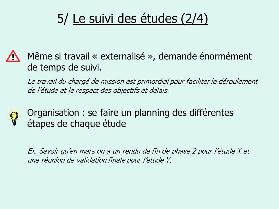 5/ Le suivi des études (2/4) Même si travail « externalisé », demande énormément de temps de suivi. Le travail du chargé de mission est primordial pou