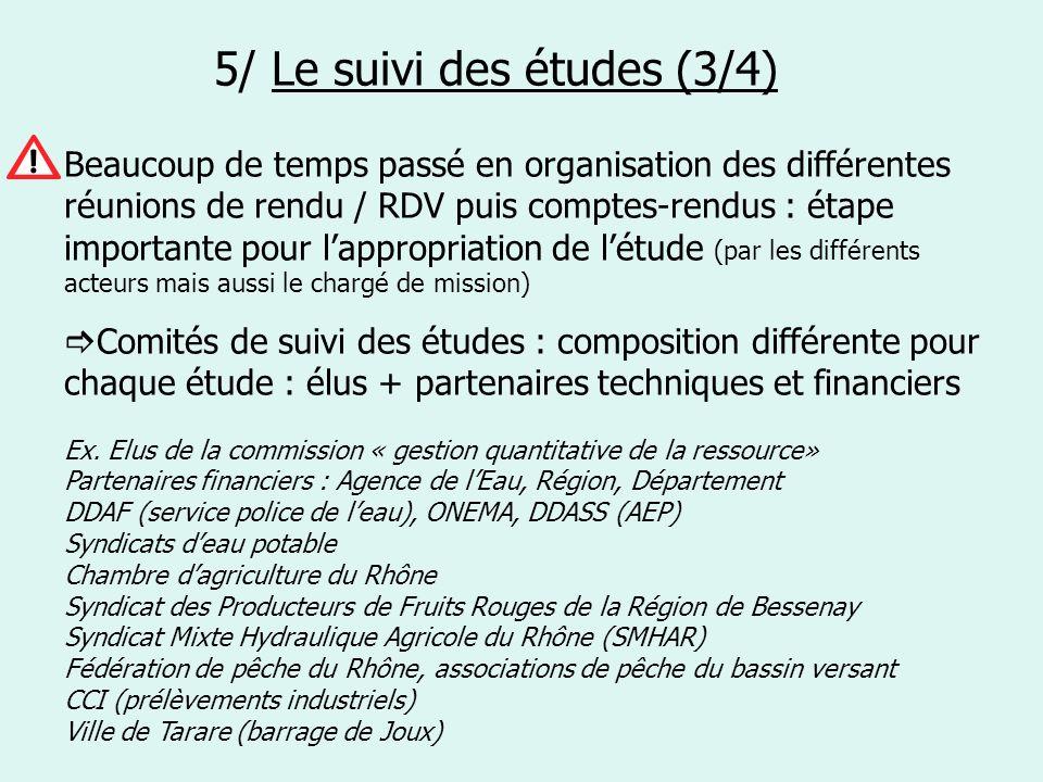 5/ Le suivi des études (3/4) Beaucoup de temps passé en organisation des différentes réunions de rendu / RDV puis comptes-rendus : étape importante po