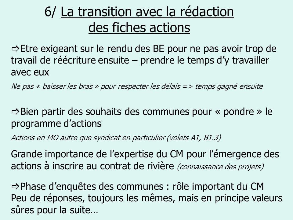 6/ La transition avec la rédaction des fiches actions Etre exigeant sur le rendu des BE pour ne pas avoir trop de travail de réécriture ensuite – pren