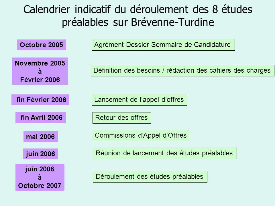 Calendrier indicatif du déroulement des 8 études préalables sur Brévenne-Turdine Agrément Dossier Sommaire de Candidature Novembre 2005 à Février 2006