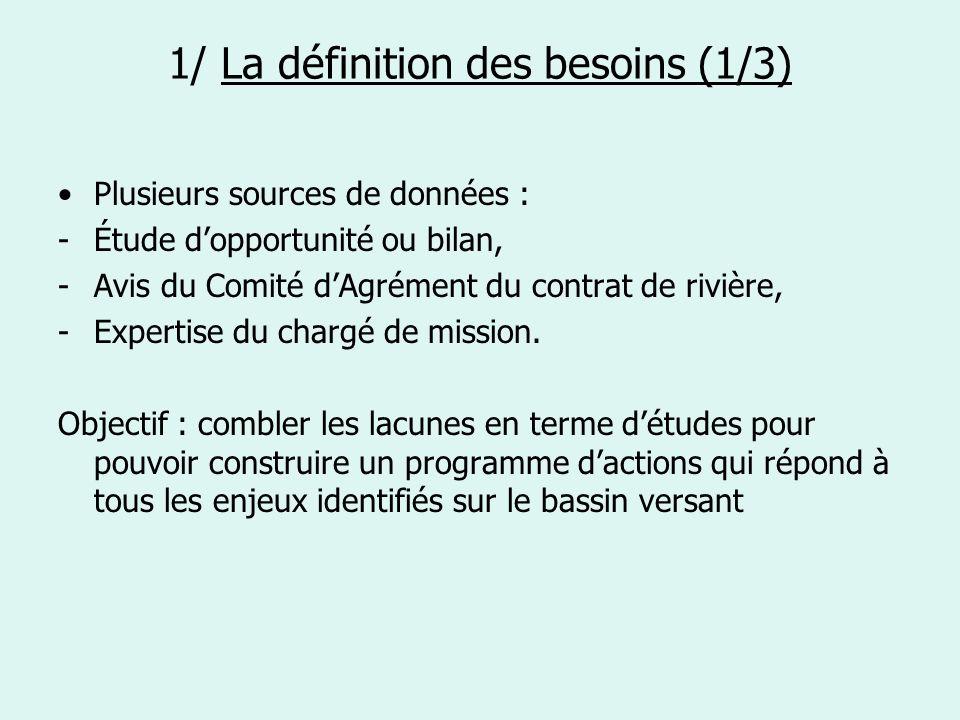 1/ La définition des besoins (1/3) Plusieurs sources de données : -Étude dopportunité ou bilan, -Avis du Comité dAgrément du contrat de rivière, -Expe