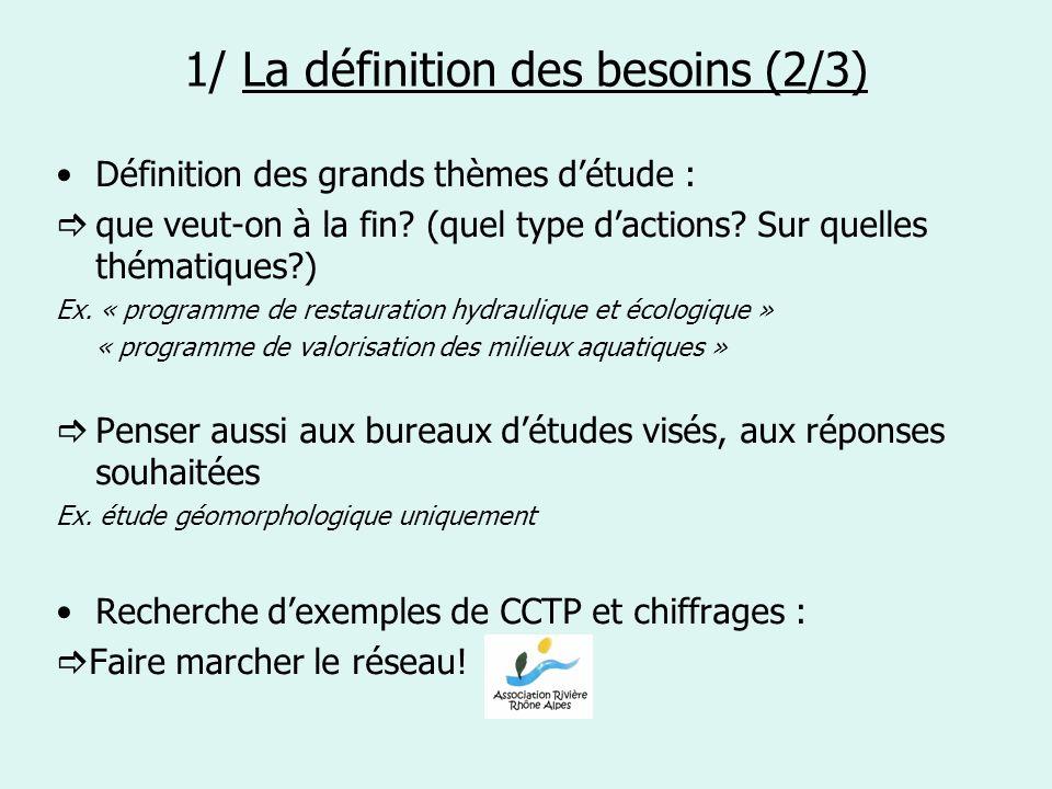 1/ La définition des besoins (2/3) Définition des grands thèmes détude : que veut-on à la fin? (quel type dactions? Sur quelles thématiques?) Ex. « pr